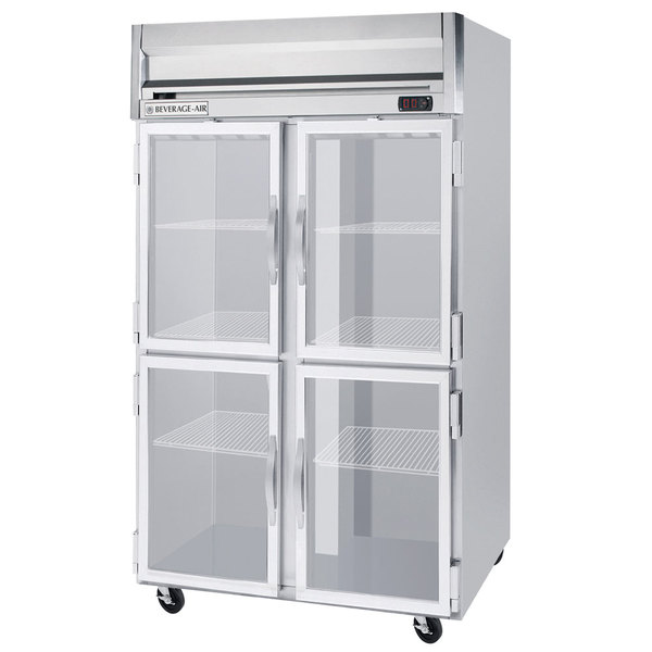 Beverage-Air HF2-1HG-LED 2 Section Glass Half Door Reach-In Freezer - 49 cu. ft., Stainless Steel Front, Gray Exterior Main Image 1