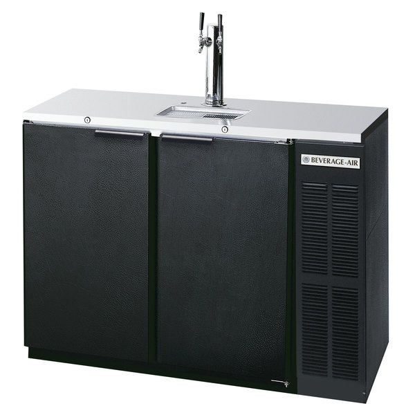 Beverage-Air DD48HC-1-B Double Tap Kegerator Beer Dispenser - Black, (2) 1/2 Keg Capacity