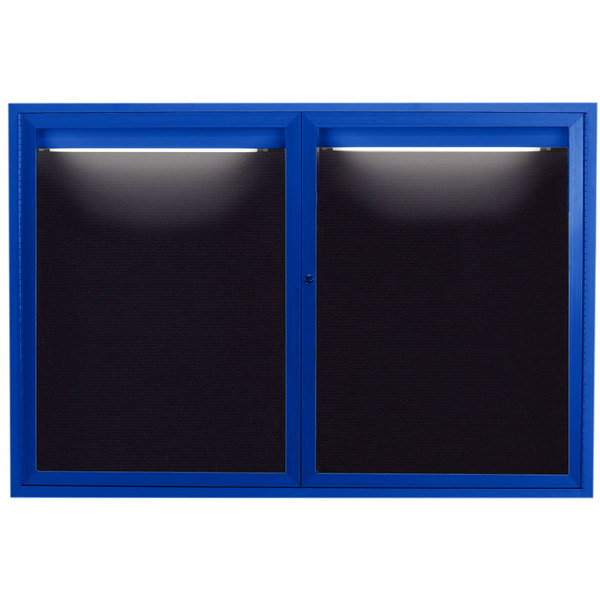 """Aarco OADC4872IB 48"""" x 72"""" Enclosed Hinged Locking 2 Door Powder Coated Blue Aluminum Outdoor Lighted Message Center with Black Letter Board"""