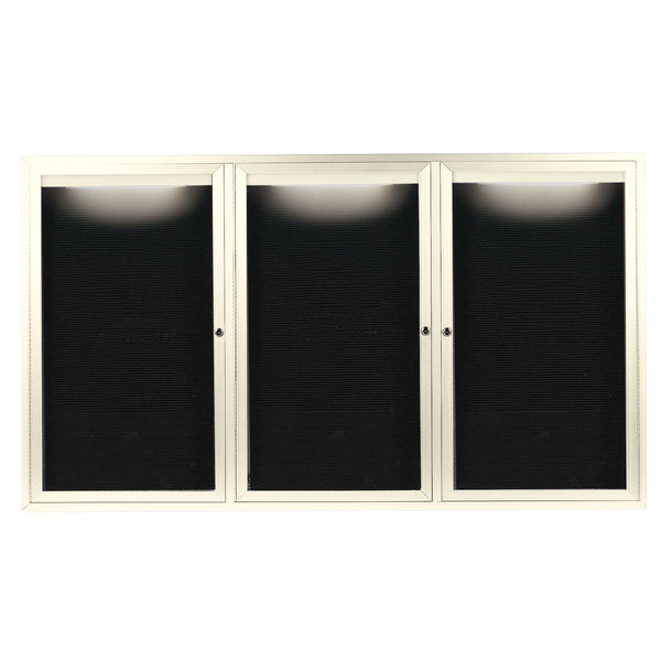 "Aarco OADC4872-3IIV 48"" x 72"" Enclosed Hinged Locking 3 Door Powder Coated Ivory Aluminum Outdoor Lighted Message Center with Black Letter Board"