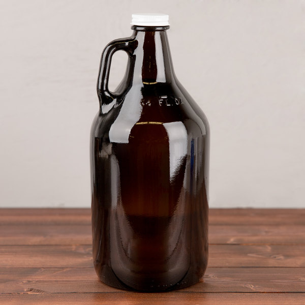 Libbey 70217 64 oz. Customizable Amber Growler - 6/Case