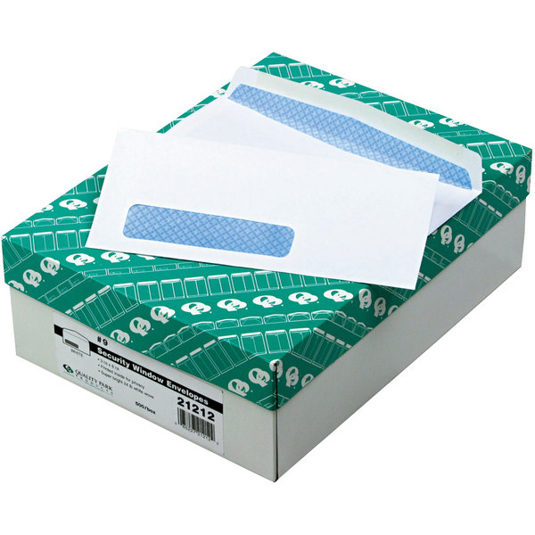 """Quality Park 21212 #9 3 7/8"""" x 8 7/8"""" White Gummed Seal Security Tinted Business Envelope with Window - 500/Box Main Image 1"""
