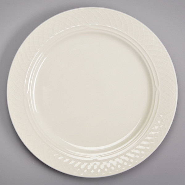 """Homer Laughlin 3427000 Gothic 12 1/2"""" Ivory (American White) China Plate - 12/Case"""