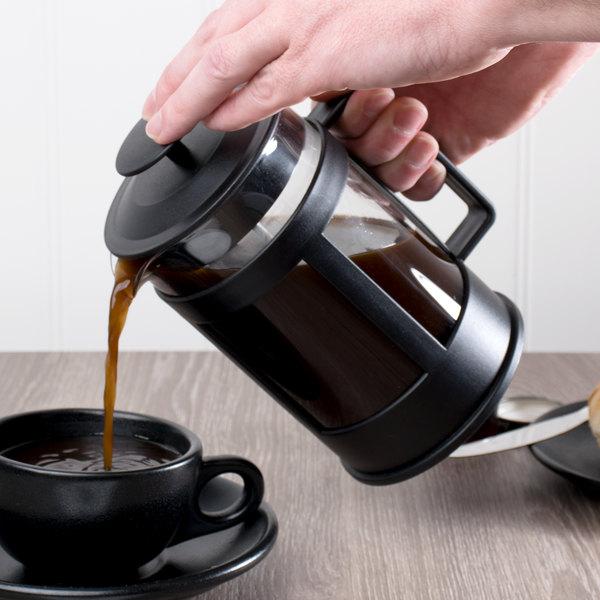 Acopa 27 oz. Glass / Black French Coffee Press Main Image 2
