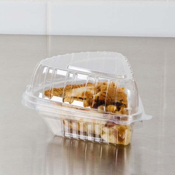 "Dart Showtime C54HT1 6"" x 6"" x 3"" Clear Hinged Lid Pie Wedge Container - 250/Case"