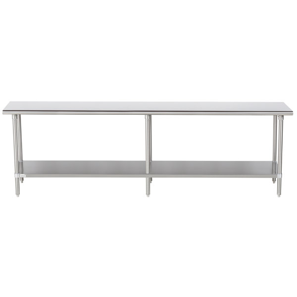 """Advance Tabco Premium Series SS-249 24"""" x 108"""" 14 Gauge Stainless Steel Commercial Work Table with Undershelf"""