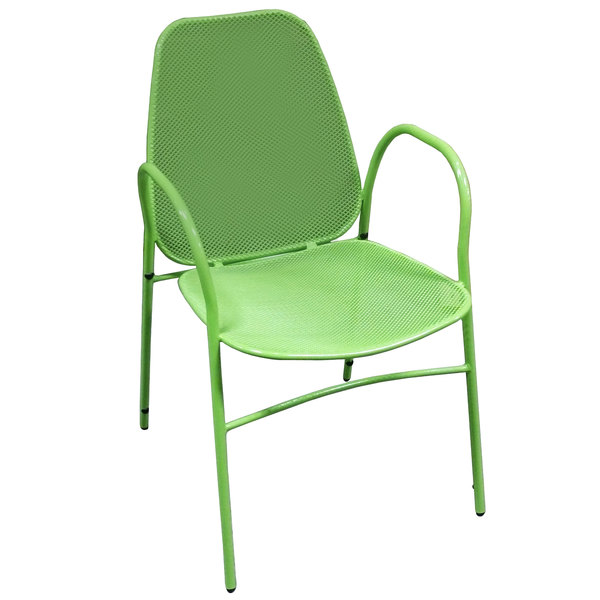 American Tables & Seating 96-G Green Mesh Outdoor Powder-Coated Metal Chair Main Image 1