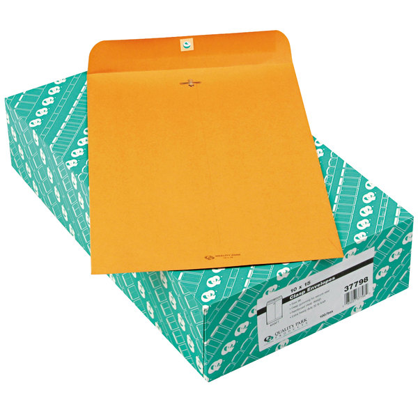 "Quality Park 37798 #98 10"" x 15"" Brown Kraft Clasp / Gummed Seal File Envelope - 100/Box Main Image 1"