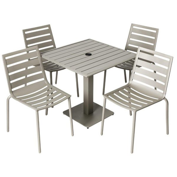 "BFM Seating YB-TS32S South Beach 32"" Square Titanium Silver Outdoor Table with 4 Chairs"