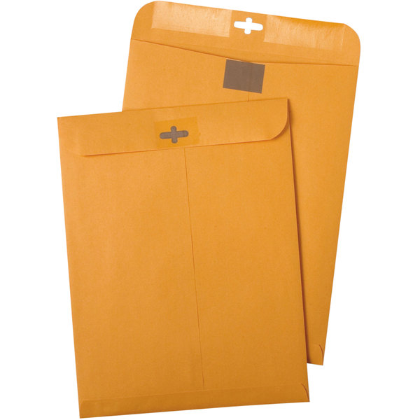 "Quality Park 43468 ClearClasp #55 6"" x 9"" Brown Kraft Clasp File Envelope with Redi-Tac Seal - 100/Box Main Image 1"
