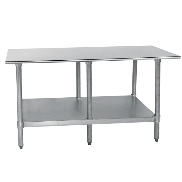 """Advance Tabco TTS-308-X 30"""" x 96"""" 18 Gauge Stainless Steel Commercial Work Table with Undershelf Scratch and Dent"""