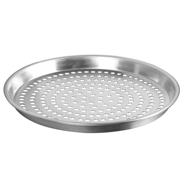 "American Metalcraft PADEP16 16"" x 1"" Perforated Standard Weight Aluminum Tapered / Nesting Deep Dish Pizza Pan"