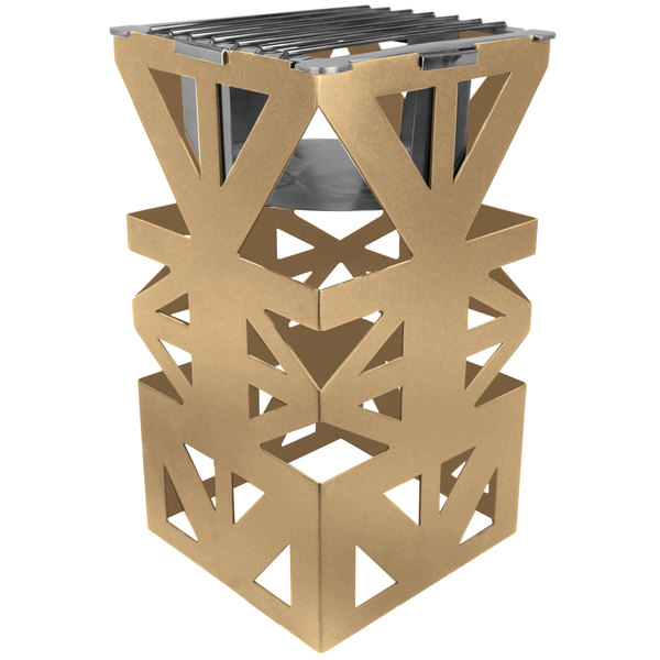 """Eastern Tabletop 1743RZ LeXus 8"""" x 8"""" x 15"""" Bronze Coated Steel Cube with Grate and Fuel Shelf"""