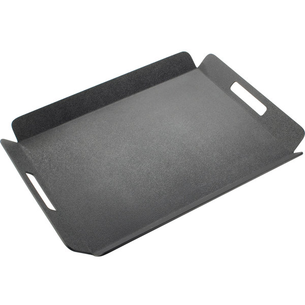 """Cal-Mil 958-2-13 16"""" x 13"""" Black Room Service Tray with Raised Edges"""