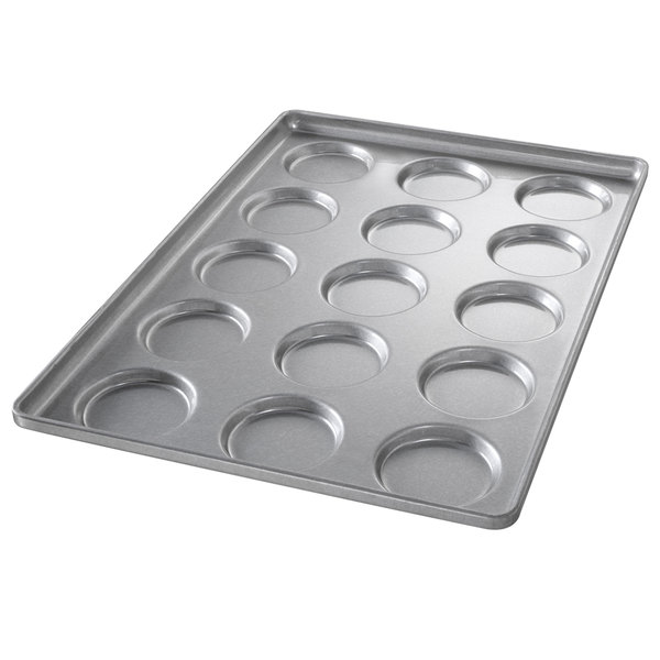 Chicago Metallic 41002 15 Mold Glazed Customizable Individual Hamburger Bun / Muffin Top / Cookie Pan