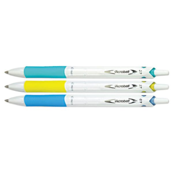 Pilot 31860 Acroball Black Ink with Assorted Barrel Color 0.7mm Ballpoint Retractable Pen - 3/Pack