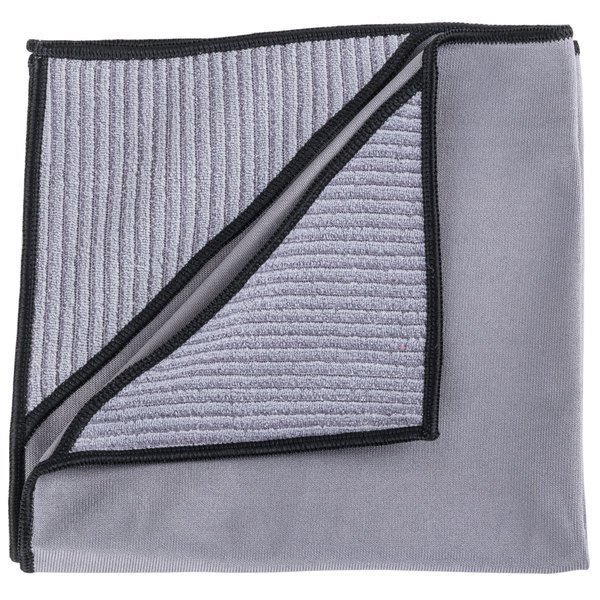 "Unger MN40U Ninja MicroWipe 16"" x 16"" Gray and Black Premium Microfiber Cleaning Cloth - 5/Pack"
