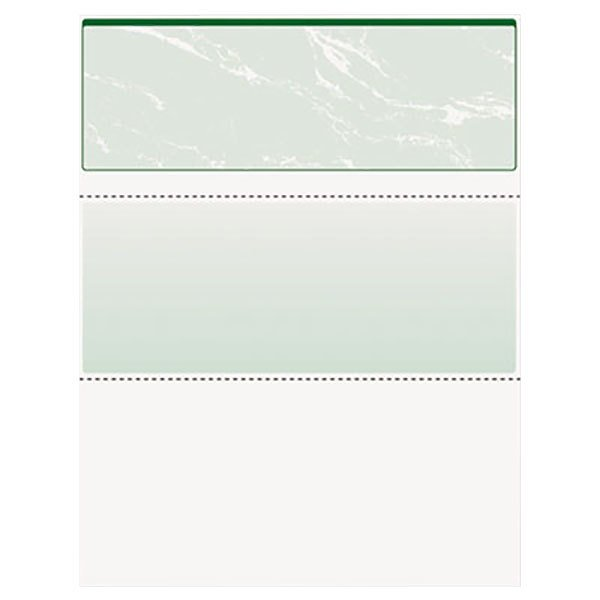 "DocuGard 04502 8 1/2"" x 11"" Green Marble Top 11 Feature 24# Standard Security Check Paper - 500/Ream"
