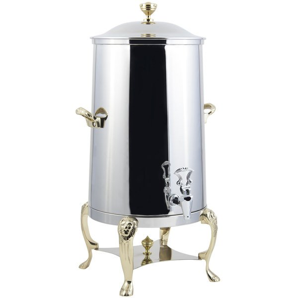 Bon Chef 48001-E Lion 1.5 Gallon Insulated Stainless Steel Electric Coffee Chafer Urn with Brass Trim