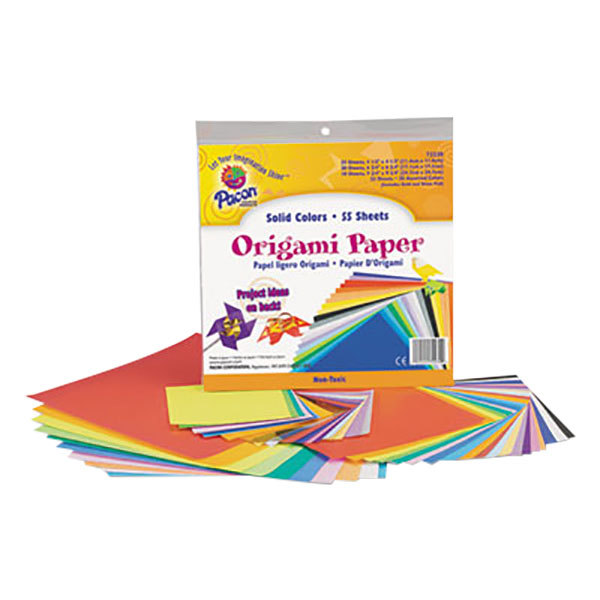 """Pacon 72230 9 3/4"""" x 9 3/4"""" Assorted Bright Color 30# Origami Paper - 55/Pack"""