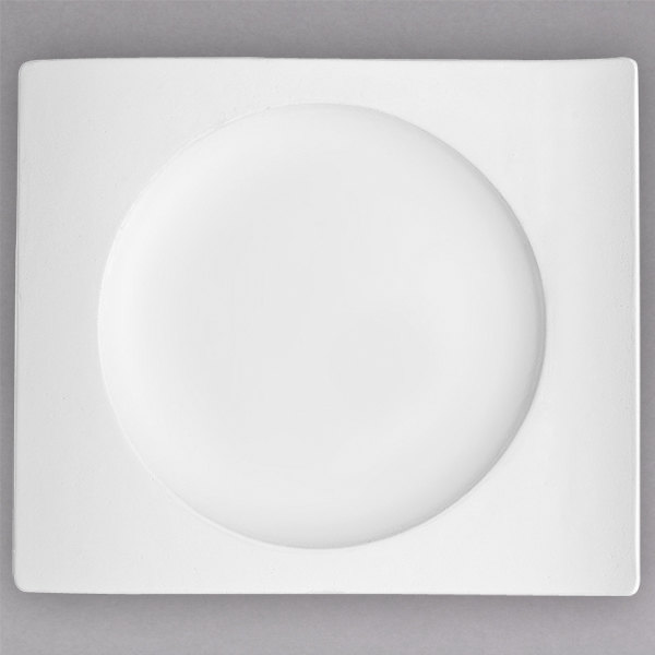 "Villeroy & Boch 10-2525-2649 NewWave 9 1/2"" x 8 5/8"" Rectangular White Premium Porcelain Dessert Plate - 4/Case"
