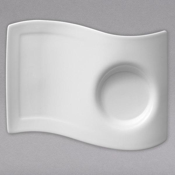 "Villeroy & Boch 10-2484-2832 NewWave 7"" x 5 1/2"" White Premium Porcelain Party Plate - 6/Case"