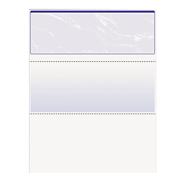 """DocuGard 04501 8 1/2"""" x 11"""" Blue Marble Top 11 Feature 24# Standard Security Check Paper - 500/Ream Main Image 1"""
