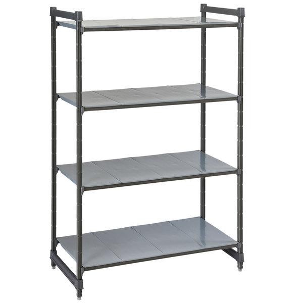 "Cambro CBU214264S4580 Camshelving® Basics Plus Solid 4-Shelf Stationary Starter Unit - 21"" x 42"" x 64"""