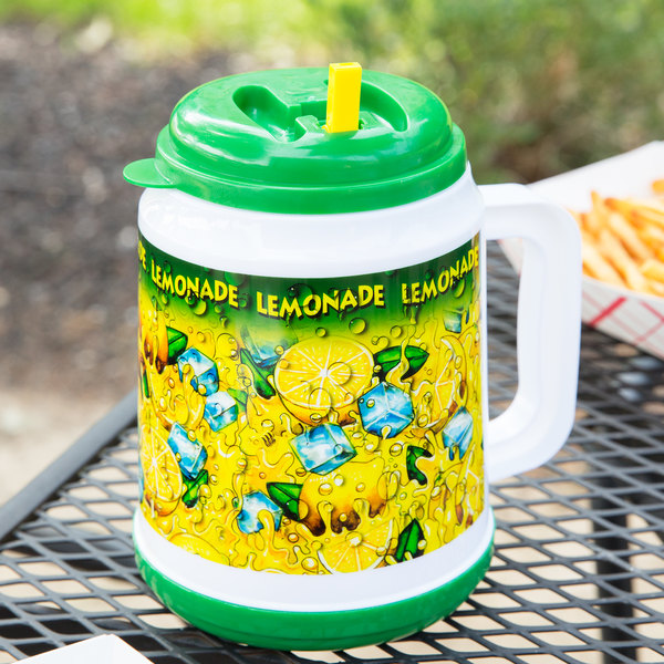 32 oz. Plastic Lemonade Mini Tanker with Spout / Straw and Lid - 24/Case Main Image 2