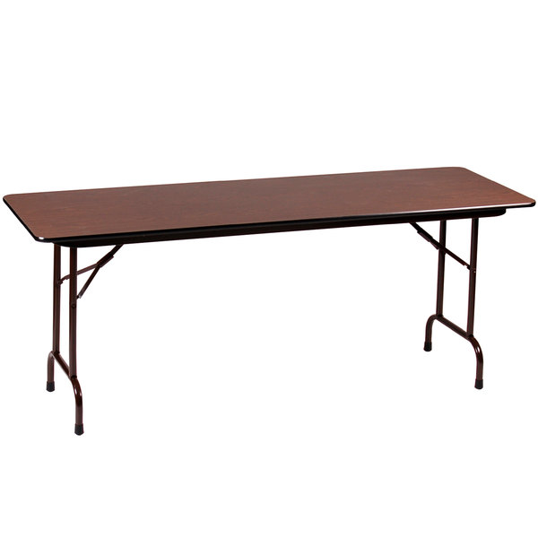 "Correll CFA3696PX01 36"" x 96"" Walnut High Pressure Heavy Duty Adjustable Height Folding Table"