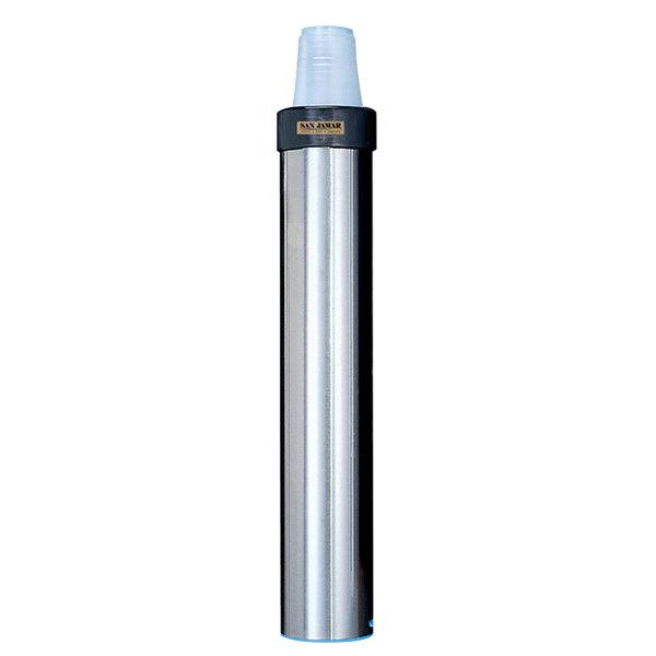 San Jamar C3400EV Stainless Steel Surface Mount Vertical 12 - 24 oz. Elevator Cup Dispenser Main Image 1
