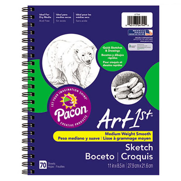 """Pacon 4794 Art1st 8 1/2"""" x 11"""" White Medium Weight Smooth 60# Stock Paper Sketch Diary"""