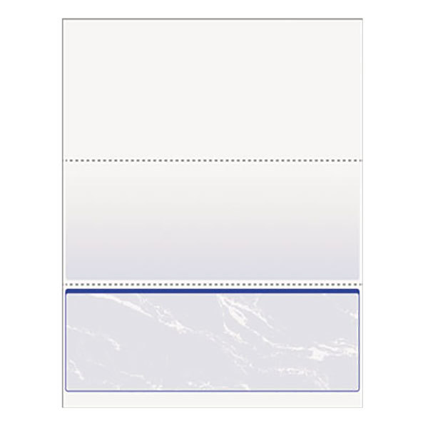 """DocuGard 04517 8 1/2"""" x 11"""" Blue Marble Bottom 11 Feature 24# Standard Security Check Paper - 500 Sheets/Ream"""