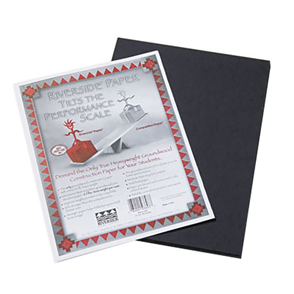 """Pacon 103607 Riverside 9"""" x 12"""" Black Pack of 76# Construction Paper - 50/Sheets"""