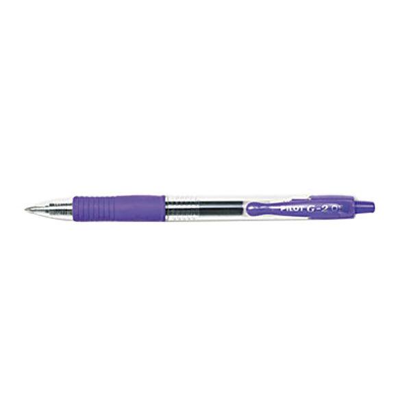 Pilot 31006 G2 Premium Purple Ink with Translucent Barrel 0.5mm Roller Ball Retractable Gel Pen - 12/Pack