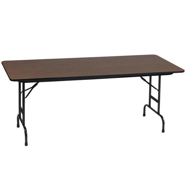 "Correll CFA3672M01 36"" x 72"" Walnut Light Duty Melamine Adjustable Height Folding Table"