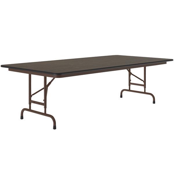 "Correll CFA3672M01 36"" x 72"" Walnut Light Duty Melamine Adjustable Height Folding Table Main Image 1"
