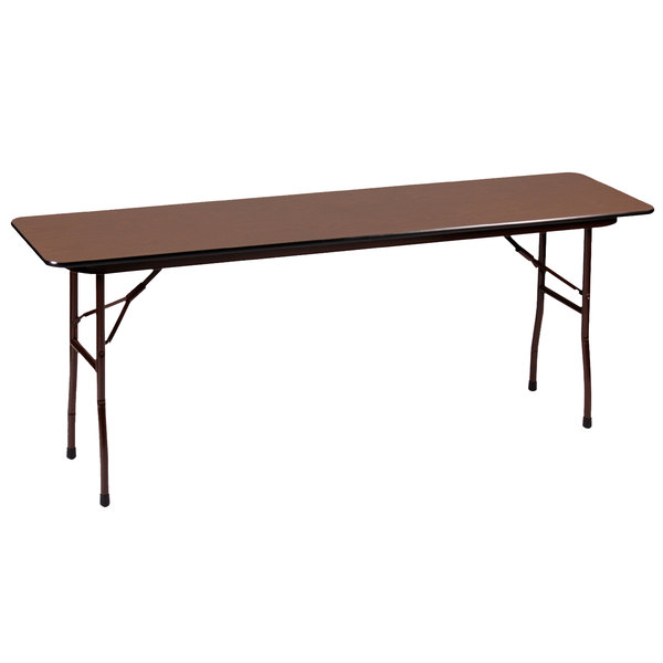 "Correll PC1872P01 18"" x 72"" Rectangular Walnut Solid High Pressure Heavy Duty Folding Table with Plywood Core Main Image 1"