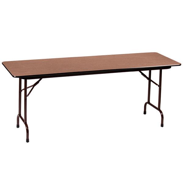 "Correll CF2496M06 24"" x 96"" Medium Oak Light Duty Melamine Folding Table"