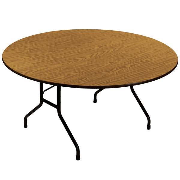 "Correll CF60MR06 60"" Round Medium Oak Light Duty Melamine Folding Table"