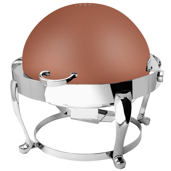 Eastern Tabletop 3608FSCP Freedom 8 Qt. Round Copper Coated Stainless Steel Roll Top Chafer
