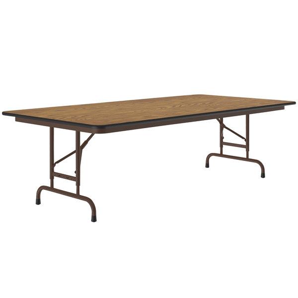 "Correll CFA3672M06 36"" x 72"" Medium Oak Light Duty Melamine Adjustable Height Folding Table Main Image 1"
