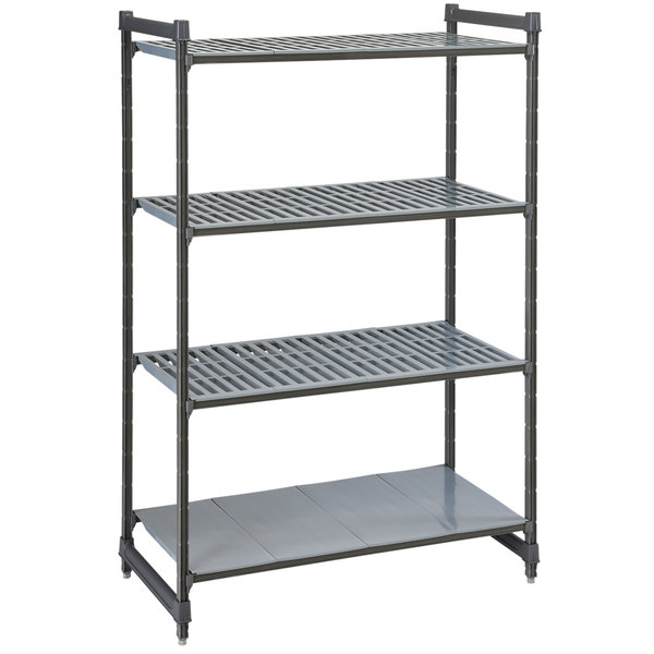 "Cambro CBU243672VS4580 Camshelving® Basics Plus Stationary Starter Unit with 3 Vented Shelves and 1 Solid Shelf - 24"" x 36"" x 72"""