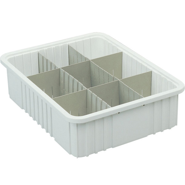 "Long Metro MDL92035N Gray Tote Box Divider - 17"" x 4"""