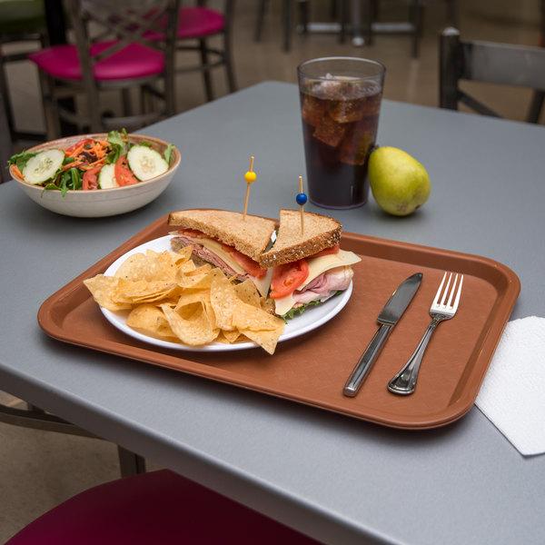"Carlisle CT121631 Customizable Cafe 12"" x 16"" Light Brown Standard Plastic Fast Food Tray - 24/Case"