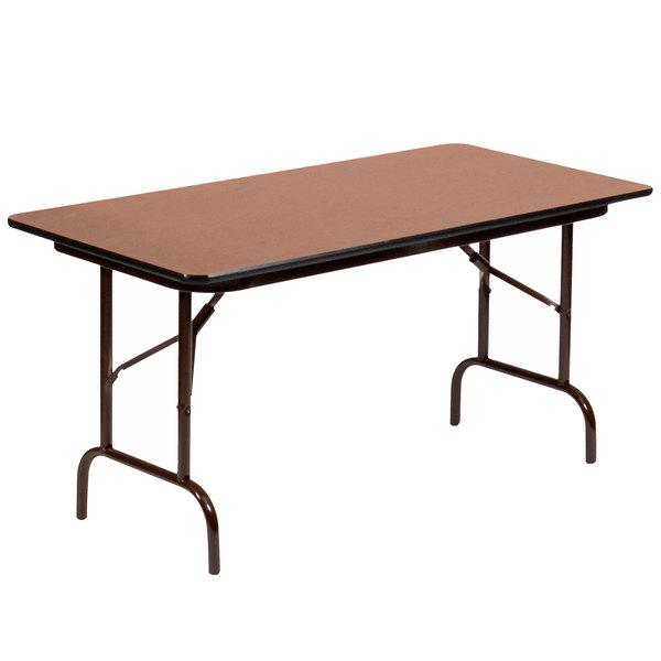 "Correll CF2460M06 24"" x 60"" Medium Oak Light Duty Melamine Folding Table"