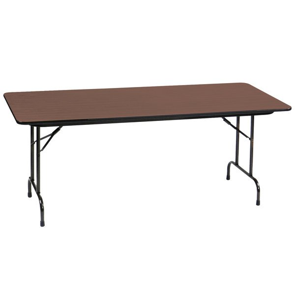 """Correll PC2448P01 24"""" x 48"""" Rectangular Walnut Solid High Pressure Heavy Duty Folding Table with Plywood Core"""