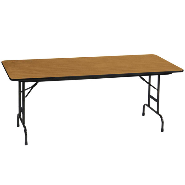 "Correll CFA3696M06 36"" x 96"" Medium Oak Light Duty Melamine Adjustable Height Folding Table"