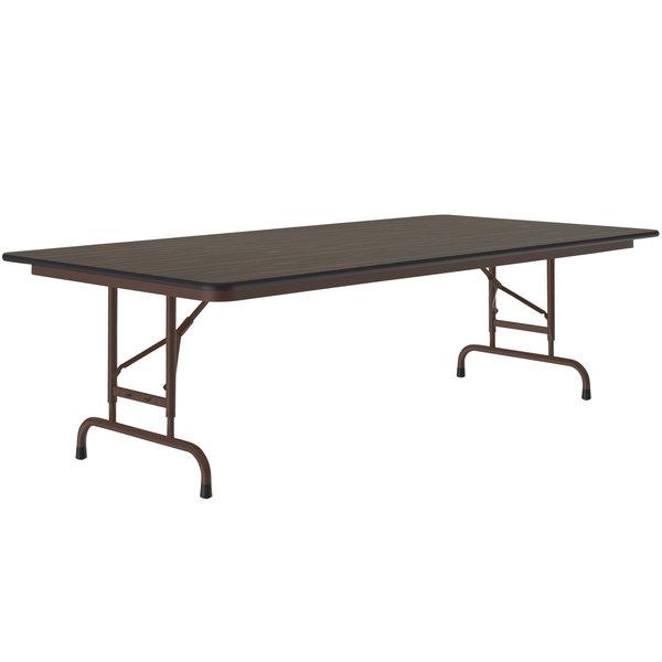 "Correll CFA3696M01 36"" x 96"" Walnut Light Duty Melamine Adjustable Height Folding Table Main Image 1"