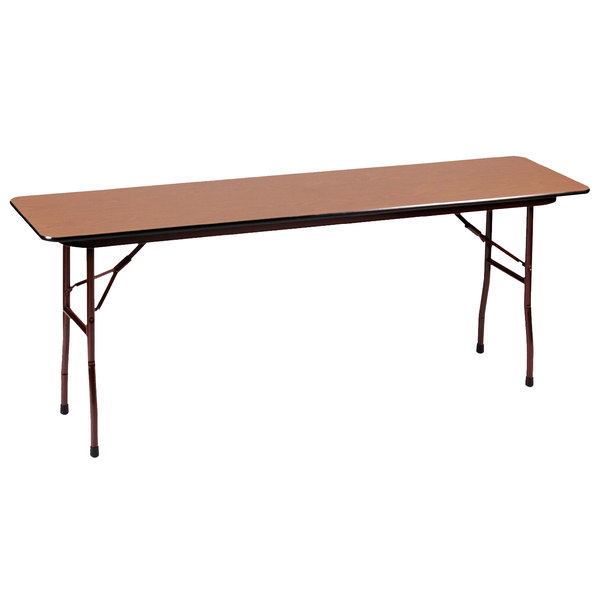 """Correll PC1896P06 18"""" x 96"""" Rectangular Medium Oak Solid High Pressure Heavy Duty Folding Table with Plywood Core Main Image 1"""